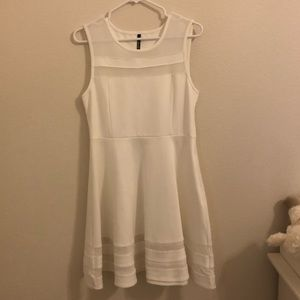 Lulu's White Short Skater Dress with sheer